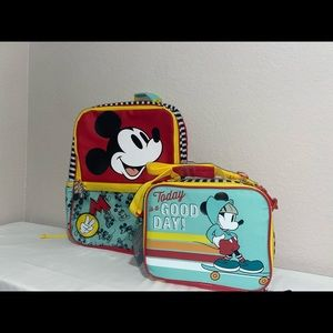 Disney Mickey Mouse Kids Bookbag and Lunchbox Set